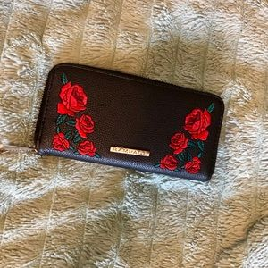Rose embroidered clutch wallet